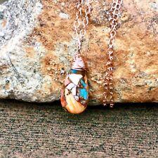 Copper Infused Natural Oyster Turquoise Pendant 14k Rose Gold Filled , December