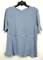 J Jill womens Blue Striped Scoop Neck Short Sleeve Cotton Casual Shirt Sz S