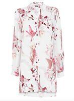 BNWT WALLIS ivory white floral bloom print longline shirt blouse size 10 RRP £38