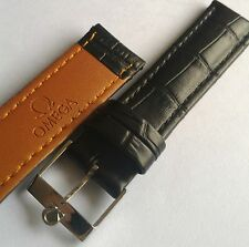 18mm black leather bracelet omega watch band w steel vintage omega watch buckle