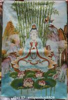 """36"""" Tibet Silk Satin Lotus Kwan-yin Boddhisattva Goddess Guan Yin Thangka Mural"""