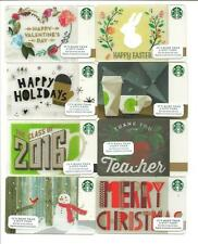 Lot (8) Starbucks Gift Cards No $ Value Collectible Valentines Braille Easter