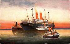 Schiffe & Seefahrt ~1910 Schiff Dampfer mit mehreren Begleitschiffen Schlepper