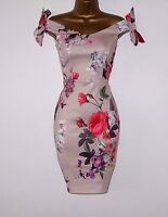 NUDE FLORAL BOW BARDOT BODYCON SUMMER EVENING PARTY OCCASION WEDDING DRESS £65