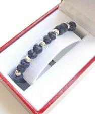 Bracelet sapphire 14k white gold diamond cut natural 6 solid beads gemstone men