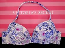34D VICTORIA'S SECRET Swim Angel Push Up Bikini Top 7DW Blue Floral