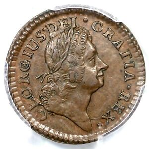 1723 3.5-Bc.6 R-5 PCGS AU 58+ DEI.GRATIA Hibernia Farthing Colonial Coin 1/4d