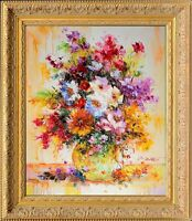 Framed Oil On Canvas, Signed Original Texture Painting Bouquet and Green Vase