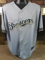 Vintage Milwaukee Brewers Majestic MLB Baseball Jersey Mens Sz XL Gray 90s Blank