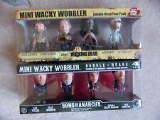 SONS OF ANARCHY + THE WALKING DEAD FUNKO MINI WACKY WOBBLER BOBBLE HEADS 4 PACK