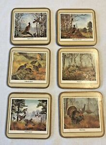Pimpernel GAME BIRDS Set of 6 Cork Coasters in Box Made in England Vintage