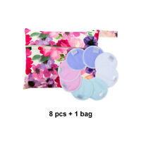 8 ALVA Reusable Washable Breast Nursing Pads Absorbent Breastfeeding +1Tiny bag