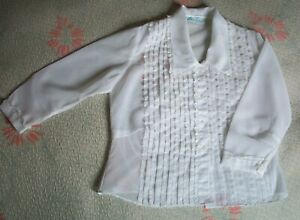 Vintage 1950s White Lace and Tuck Blouse  - Size 16