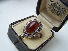 GORGEOUS VINTAGE STERLING SILVER CARNELIAN & MARCASITE RING VERY RARE SIZE M