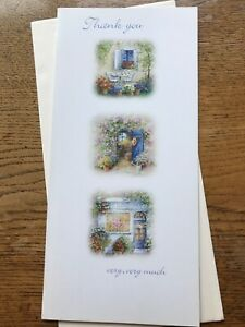 Large Thank You very much card country scenes flowers  Clinton's  (L82)