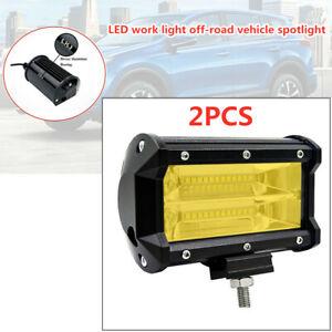 2PCS Car Double Row Yellow LED Stri Light Work Off-road Maintenance Headlights