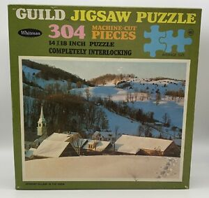 Unopened Vintage Vermont Village In The Snow Jigsaw Puzzle Whitman Guild 304 pc