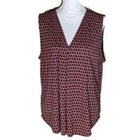 Ann Taylor women's blouse sleeveless print top pullover v neck shirt size XL