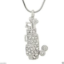 "Golf Cart Necklace Made With Swarovski Crystal Bag Pendant 18"" Chain"
