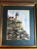 "Nice ""Light House And Landscape Scene"" Watercolor Painting - Signed And Framed"
