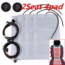 2 Seats Universal Car Heated Seat Heater Kit 12V Carbon Fiber Round Hi-Lo Switch