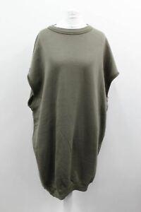 DRIES VAN NOTEN Ladies Khaki Long Wool Crew Neck Oversized Sleeveless Jumper S