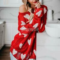 Womens' Red Sweatshirts Heart Printed Oversize Long Sleeve T-Shirts Casual Tops