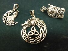 New Large Celtic Cat, or Dragon or Welsh head Silver 925 Pendant or Chain x 1