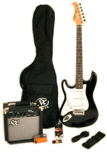 SX RST 3/4 Black Left Handed Electric Guitar Package 3/4 Size w/Amp, Bag