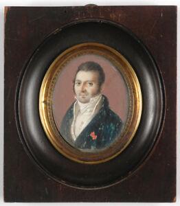 """Alexandre Chaponnier-junior """"Portrait of a """"demi-solde"""" (?), fine miniature 1819"""