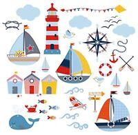 Sail Away Nursery/Boys Room Decorative Peel  Stick Wall Art Sticker Decals