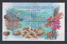 TURKEY 1998, INTERNATIONAL OCEAN YEAR SEA, FISH, S/S, MNH