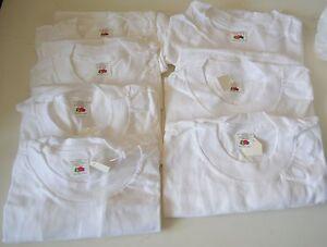 7 Fruit of LOOM Boys WHITE Undershirt SZ LARGE 10-12 Short Sleeves T Shirts NEW