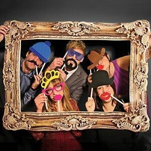photo Booth Large Picture Frame & 24PCS photo props Funny Faces Birthday Party