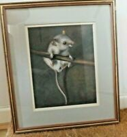 Original Pastel drawing of a Field Mouse - Framed animal picture