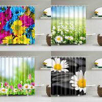 71*71in Waterproof Daisy Flowers Shower Curtain Bathroom Decor Fabric & 12hooks