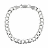 """Double Link Charm Bracelet - 925 Sterling Silver - 7"""" and 8"""" Lobster Clasp"""