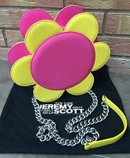 JEREMY SCOTT PINK & YELLOW LEATHER FLOWER BAG FROM SS16 RUNWAY COLLECTION..RARE!