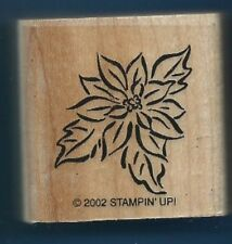 POINSETTIA Flower Gift tag card Stampin' Up! 2002 wood mount CRAFT Rubber Stamp