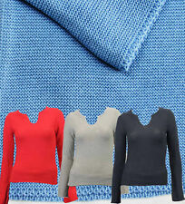Women's Cotton Long Sleeve V Neck Waist Length Jumpers & Cardigans