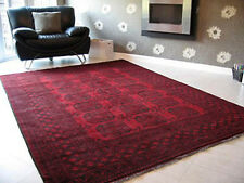 RED AFGHAN RUG 100% WOOL 286 x 198cm PERFECT CONDITION HAND WOVEN MASTERPIECE