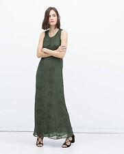ZARA GREEN MAXI LONG DRESS WITH CROCHET DETAIL SIZE XS