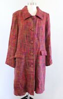 April Cornell Red Green Multi Color Tweed Long Jacket Car Coat Size M Button Up