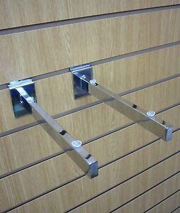 """10"""" (250mm) Chrome Glass Shelf Bracket for slatwall PACK OF 5 PAIRS"""