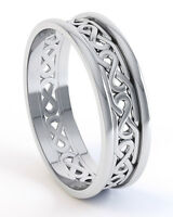 Ladies 10K White Gold Irish Handcrafted Celtic Knot Wedding Anniversary Ring