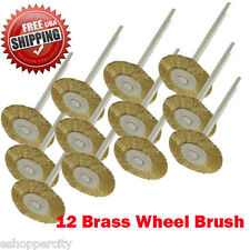 "12 Rotary Brass Wire Brush Wheel Dremel Craftsman 1/8"" Shank 428 Clean Polish"