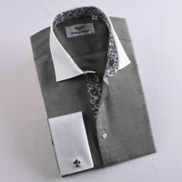 Gray Microfiber Dress Shirt Formal Business White Collar French Cuff Floral Boss