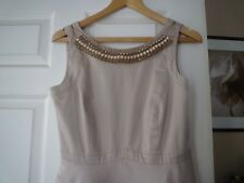 MONSOON SIZE 10 SLEEVELESS FULLY LINED BEIGE SCATER DRESS PARTY BALL PROM