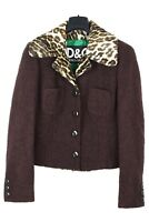 NEW D&G animal print collar cropped jacket skirt suit