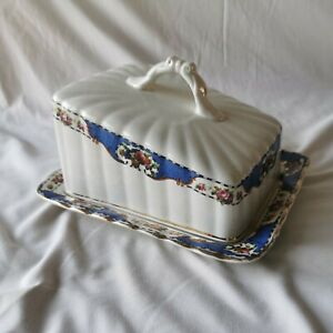 Vintage Edwardian Blue And White floral China butter Cheese Dish 01